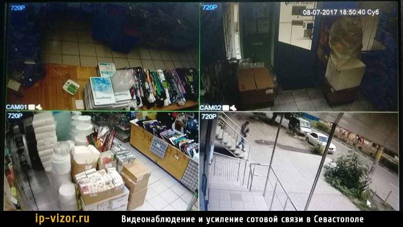 Терминал камер видеонаблюдения в магазине