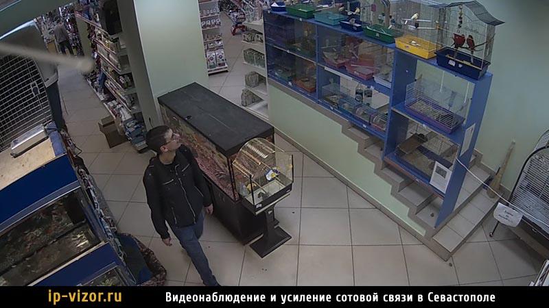 Камера системы видеонаблюдения смонтирована в магазине